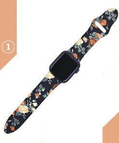 Apple watch siyah kordon üzerine gül desenleri