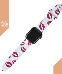 Apple watch kırmızı dudak öpücük desenli kordon kayış