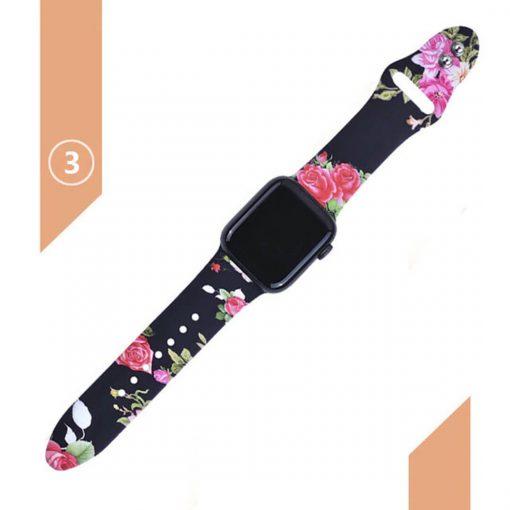 Apple watch siyah kayış üzerine gül desenleri