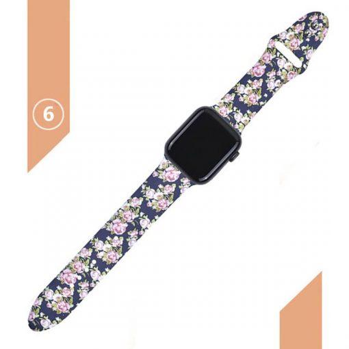 Apple watch siyah çiçek desenli kordon kayış