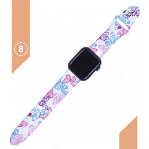 Apple watch kelebek desenli beyaz kordon kayış