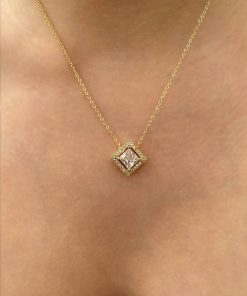 dörtgen zirkon taş altın renk kolye