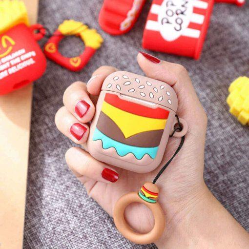 hamburger desenli silikon airpods kılıfı