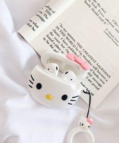 Kapağı açık hello kitty desenli airpods koruma kılıfı