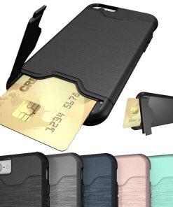 iPhone 6 6s uyumlu siyah, gri, lacivert, pembe kart bölmeli telefon kılıfı