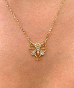 kelebek zirkon taş altın renk