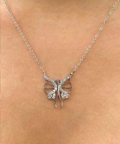 kelebek zirkon taş gümüş renk