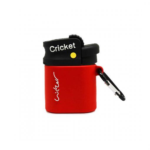 kırmızı cricket çakmak desenli silikon airpods kılıfı