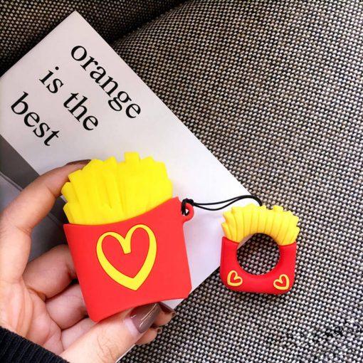 McDonalds patates desenli silikon airpods kılıfı