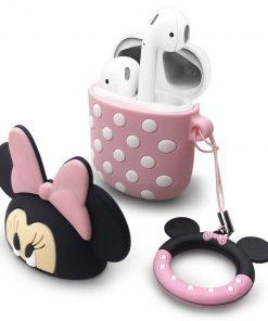pembe minnie mouse airpods kılıfı üst kapağı