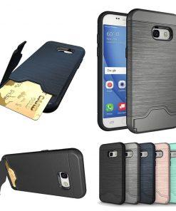 Samsung a3 2017 uyumlu siyah, gri, lacivert, pembe kart bölmeli telefon kılıfı