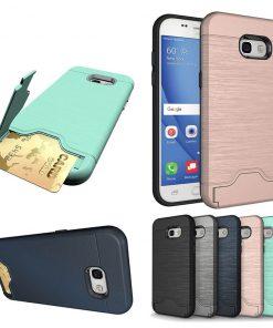 Samsung a5 2017 uyumlu siyah, gri, lacivert, pembe kart bölmeli telefon kılıfı