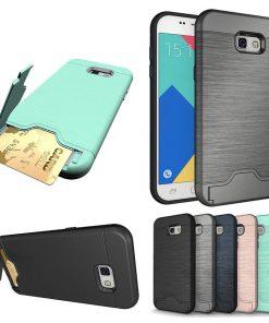 Samsung a7 2017 uyumlu siyah, gri, lacivert, pembe kart bölmeli telefon kılıfı