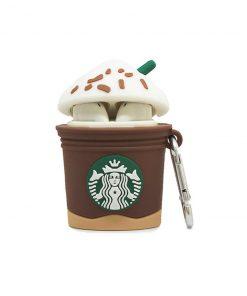 kapağı açık starbucks kahve desenli airpods kabı