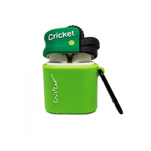 kapağı açık yeşil çakmak desenli airpods kabı